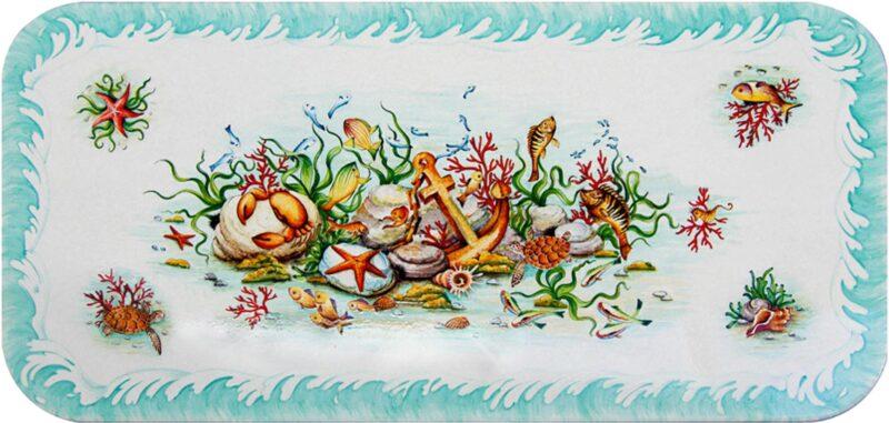 tavolo ceramizzato in pietra lavica rettangolare con decoro marino, decorato a mano