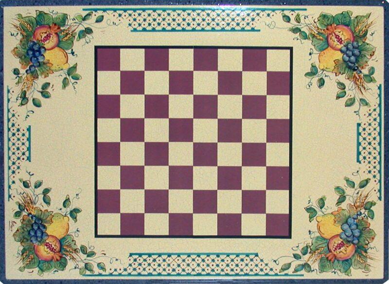 Tavolo in pietra lavica con dama, decorato a mano