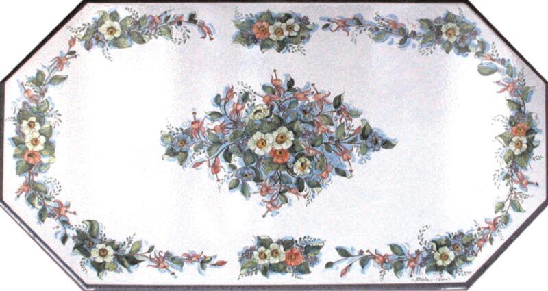 Tavolo in pietra lavica dipinto a mano con decoro Primavera