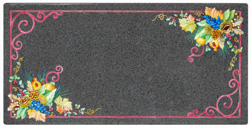 Tavolo in piera lavica decorato a mano modello Desiderio
