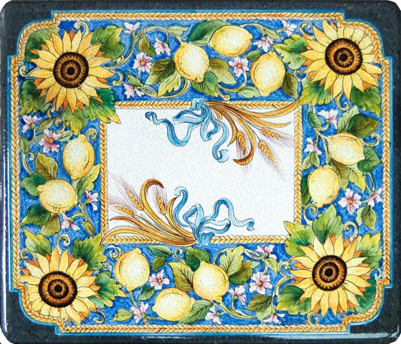 Tavolo in pietra lavica con decoro girasoli e limoni dipinto a mano