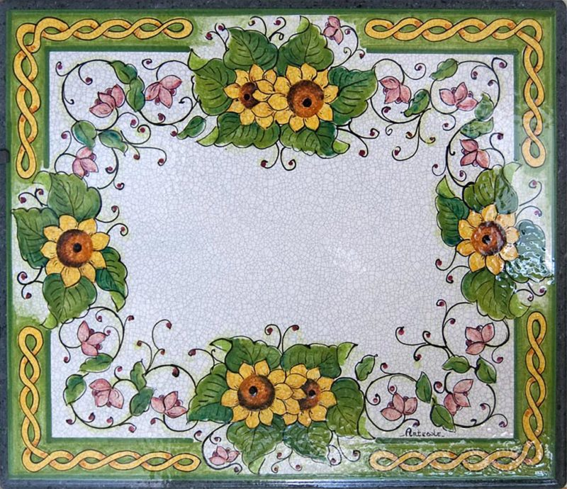Tavolo in pietra lavica con decoro girasoli dipinto a mano