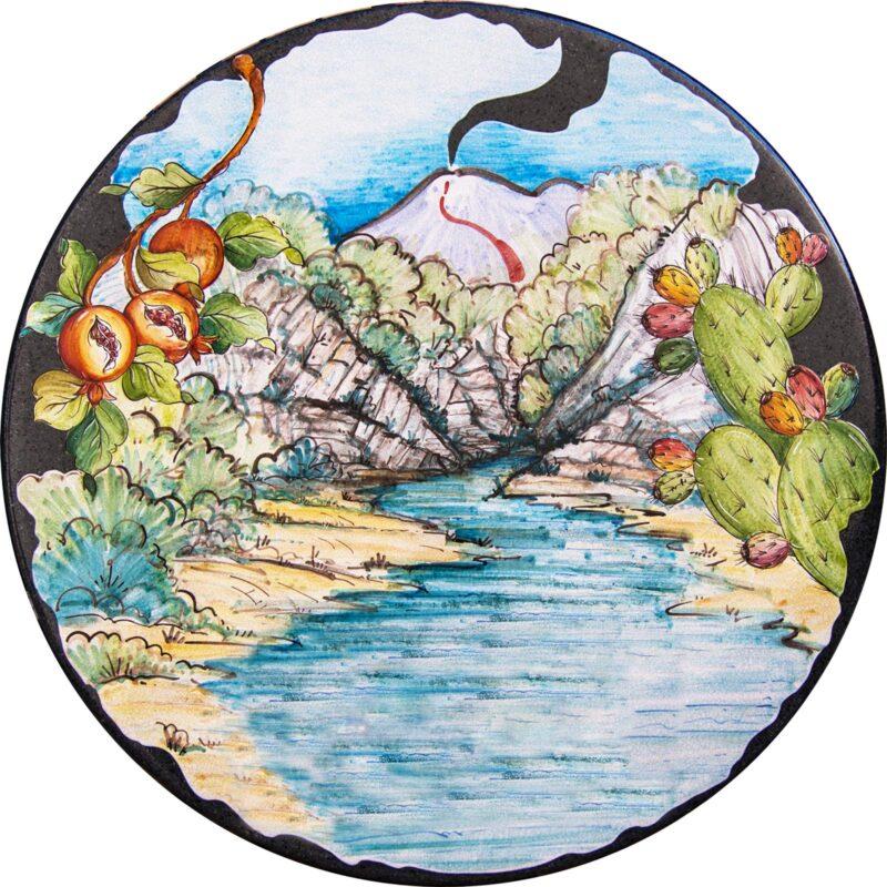 tavolo in pietra lavica decorato a mano. Dipinto Gole Alcantara