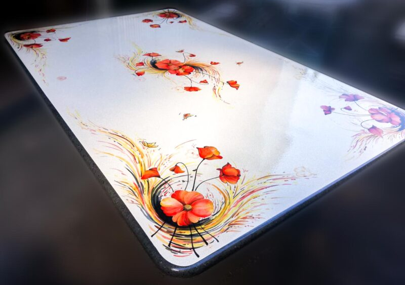 Tavolo papaveri decorato a mano, misura extra large