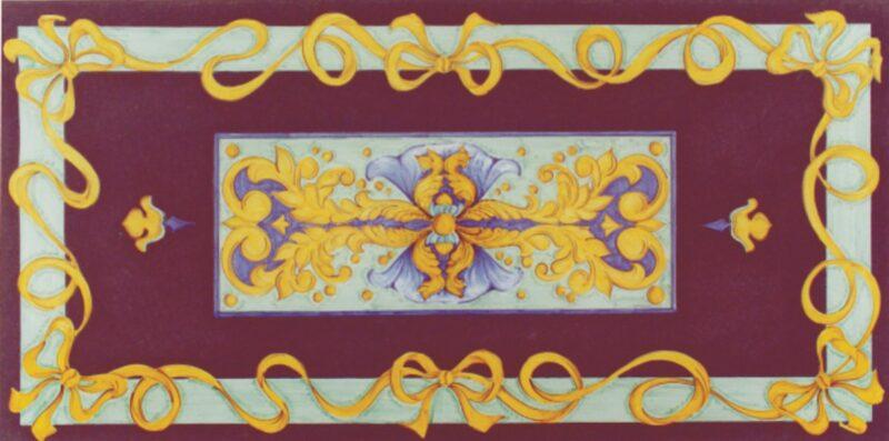 Tavolo in pietra lavica dipinto a mano in stile Caltagirone con decoro Ravenna