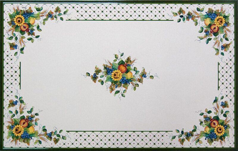 Tavolo in pietra lavica decorata a mano