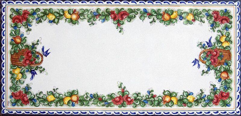 tavolo in pietra lavica siciliano decorato a mano