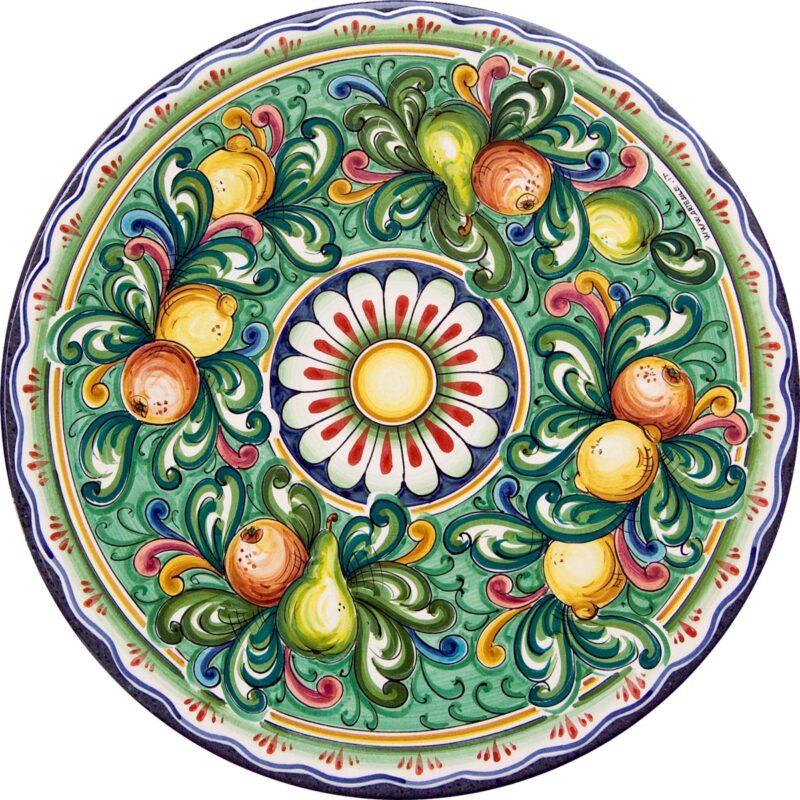 tavolo in pietra lavica rotondo decorato e dipinto a mano