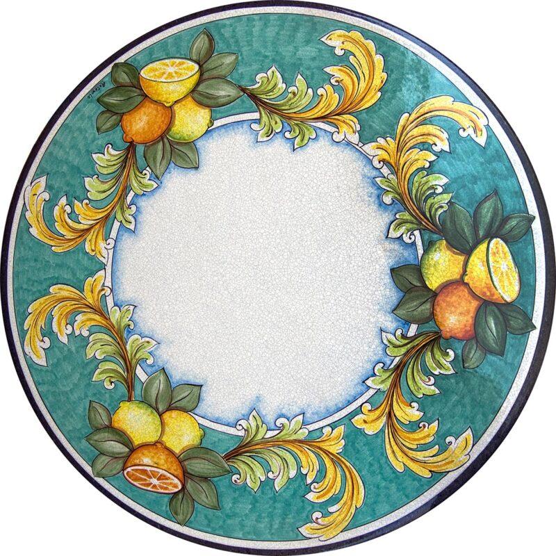 tavolo in pietra lavica decoro arance limoni decorato a mano