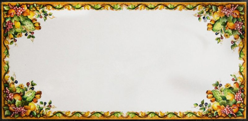 tavolo rettangolare in pietra lavica con decoro artistico pitturato a mano