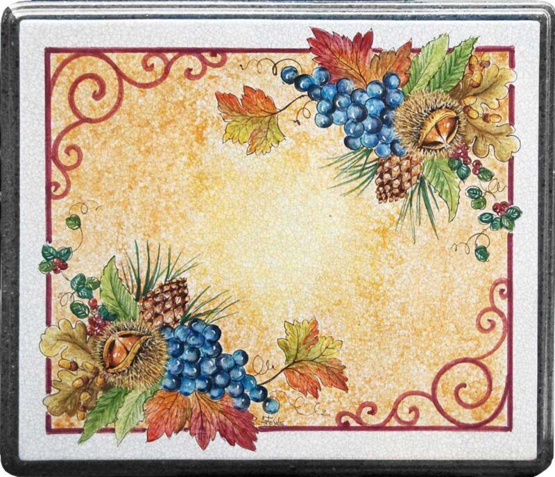 Tavolo in pietra lavica con decoro autunno dipinto a mano