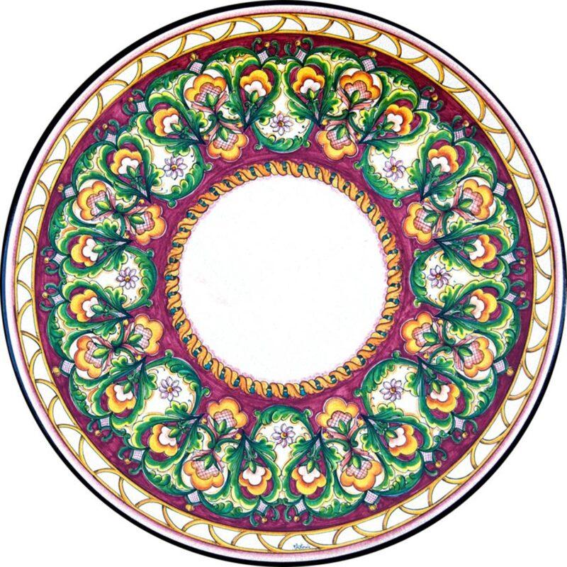 Tavolo in Pietra Lavica decoro classico in rosso
