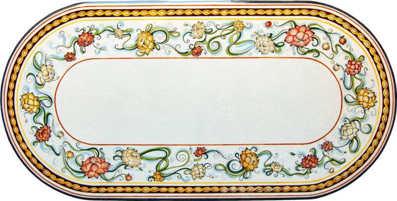 tavolo in pietra lavica ovale con decoro Fiori di Loto dipinti a mano