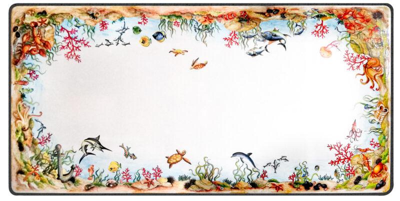 tavolo in pietra lavica rettangolare con decoro marino, pesci, aragoste, tartarughe, delfini