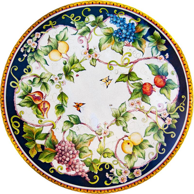 Top tavolo in pietra lavica con decoro fiori, uva, limoni e melograni dipinti a mano