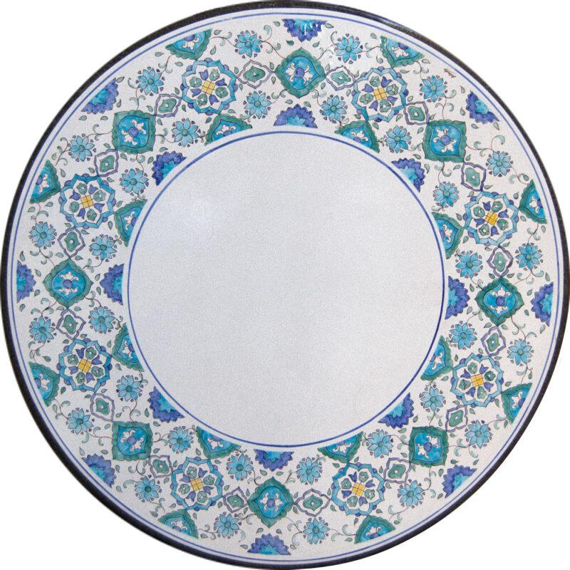 tavolo in pietra lavica rotondo con decoro Taormina decorato a mano