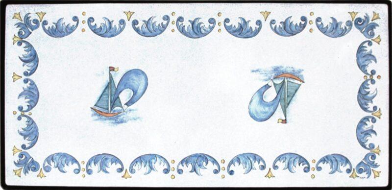tavolo in pietra lavica rettangolare con decoro vela dipinto a mano
