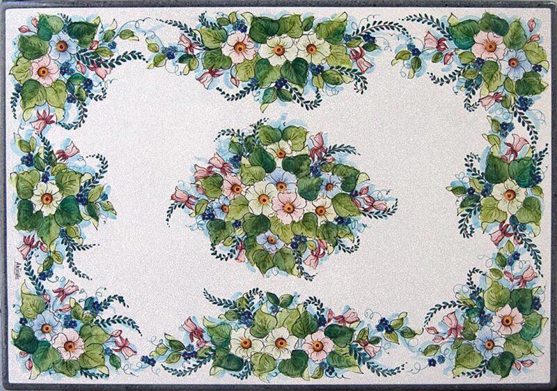 Tavolo in pietra lavica rettangolare con decoro fiori bianchi dipinti a mano