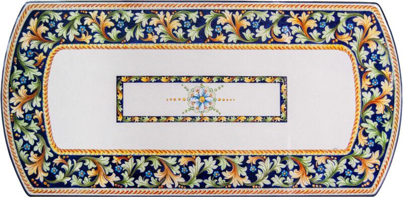 tavolo in pietra lavica ceramizzata con decoro dipinto a mano su forma maddalena
