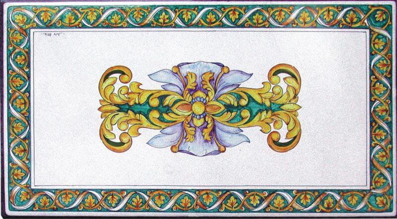Tavolo in pietra lavica con decoro Giro Foglie di Caltagirone, dipinto a mano