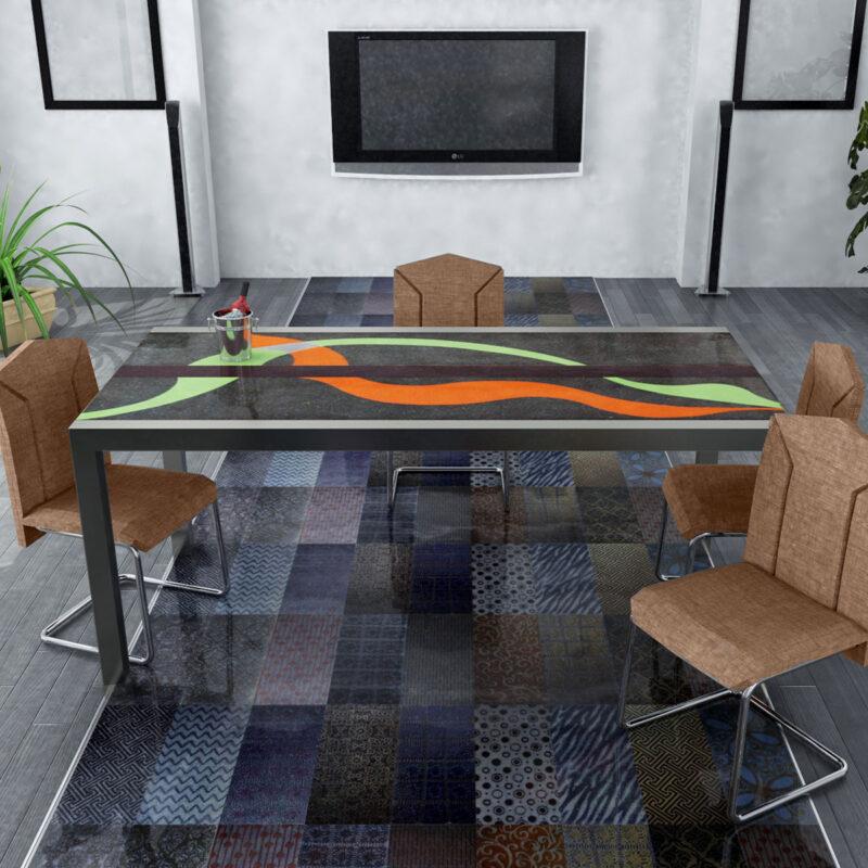 tavolo in pietra lavica moderno dipinto a mano