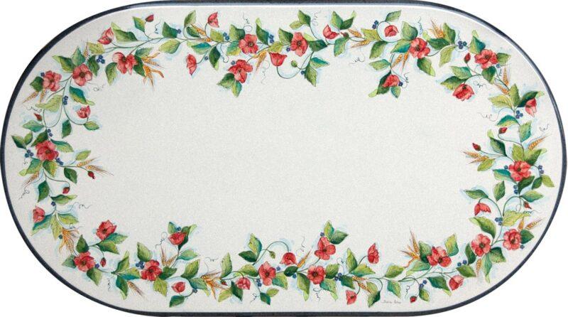 tavolo in pietra lavica ovale con decoro realizzato a mano stile Caltagirone