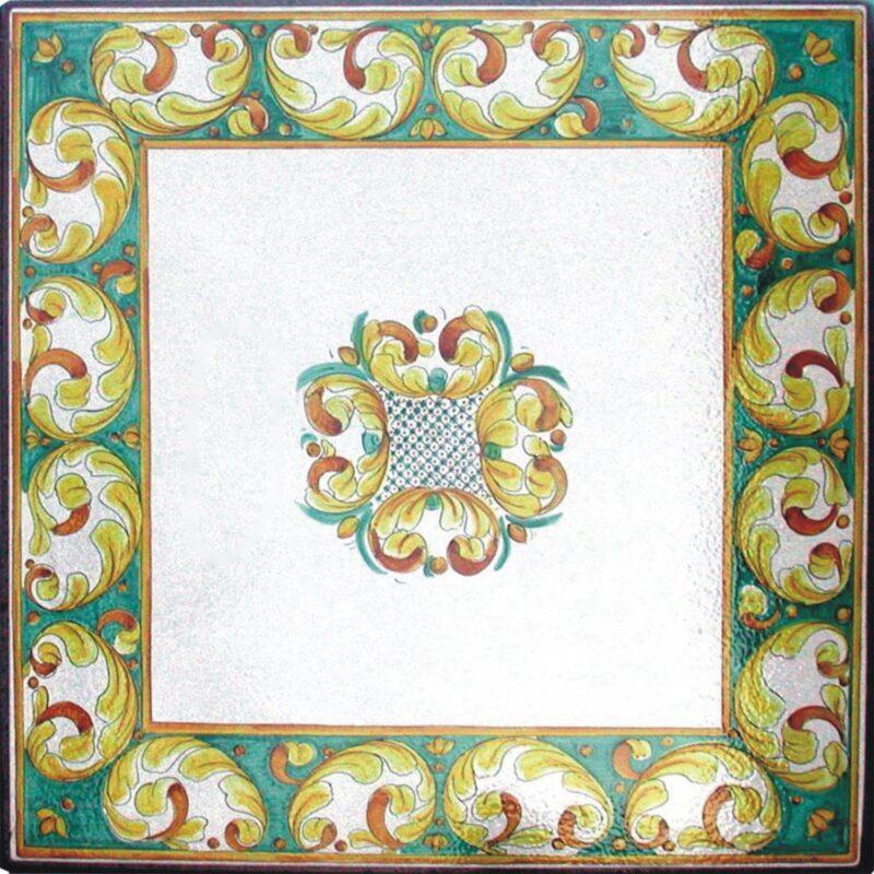 tavolo in pietra lavica quadrato decorato a mano