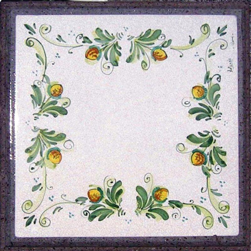 tavolo in pietra lavica quadrato con decoro mandragola dipinto a mano