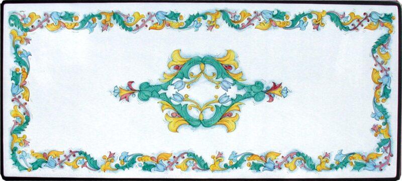 Tavolo rettangolare in pietra lavica con decoro Caltagirone