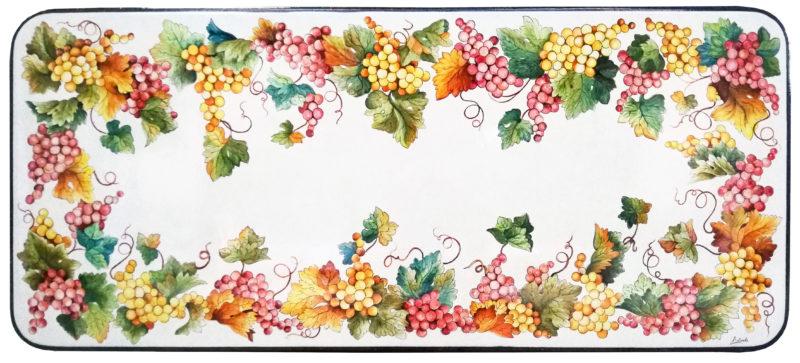 Tavolo in pietra lavica rettangolare con decoro Uva