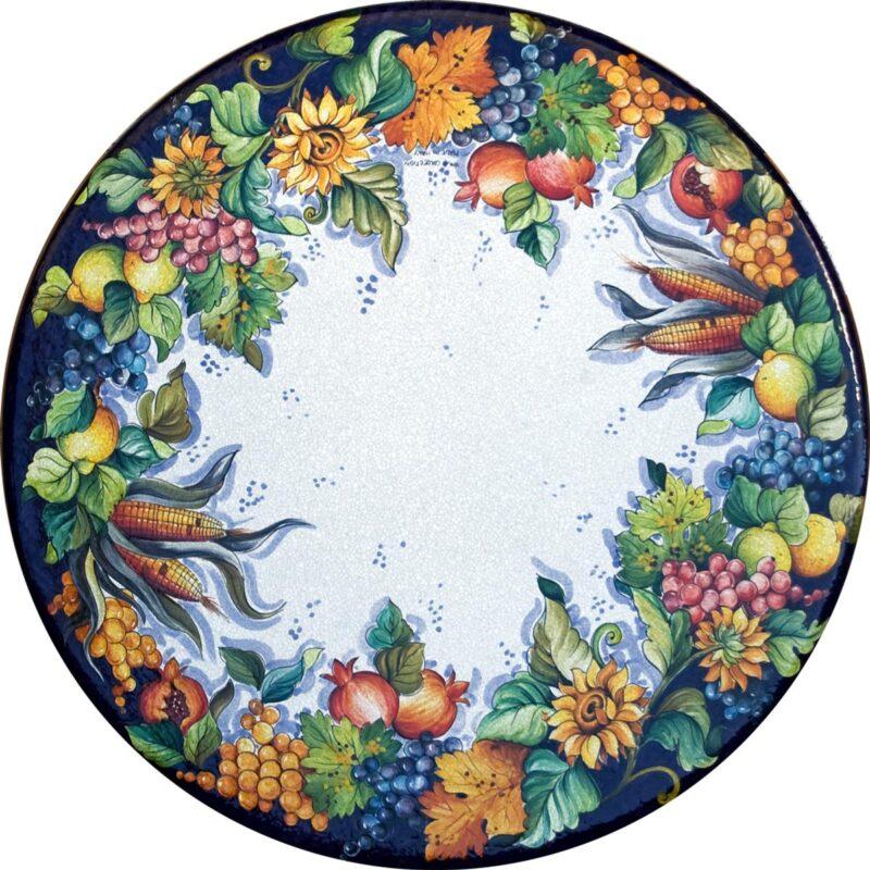tavolo in pietra lavica dipinto a mano con decoro messina