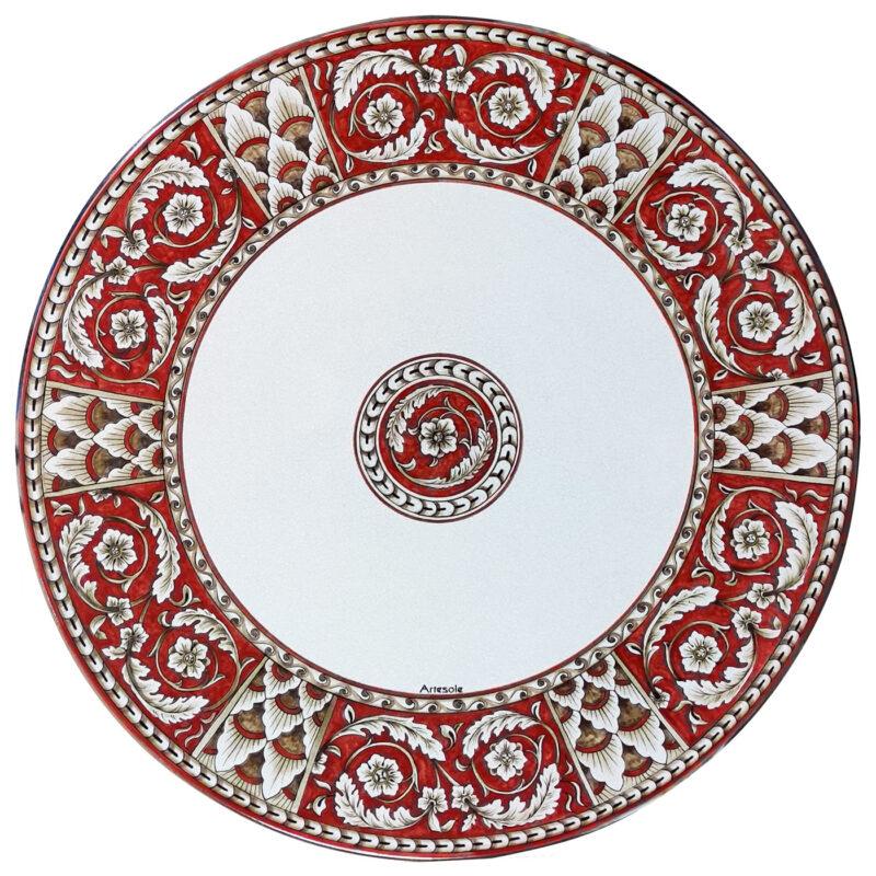 Tavolo in pietra lavica decorato a mano in Rosso