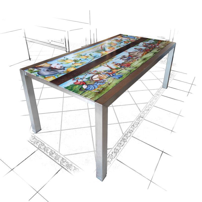 Tavolo moderno con base in acciaio e fasce in pietra lavica decorate