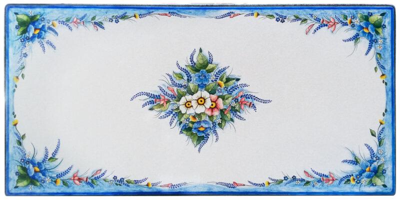 Tavolo in pietra lavica rettangolare con decoro Parigi dipinto a mano