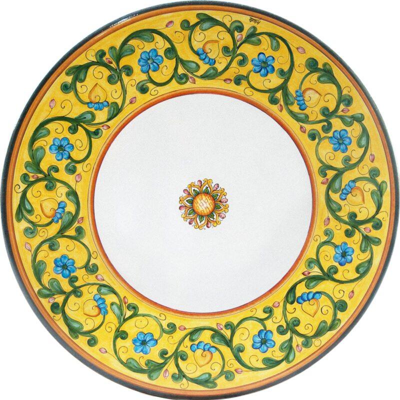 decoro tavolo in pietra lavica rotondo decorato a mano