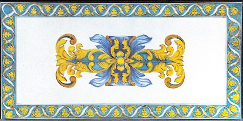Tavolo in pietra lavica decorato a mano con decoro Bruxelles