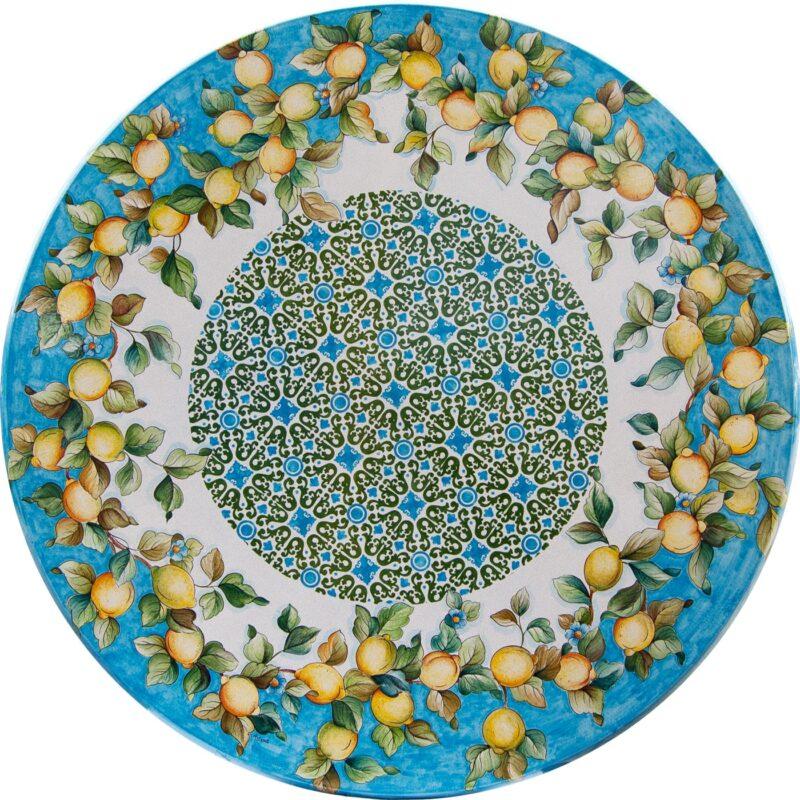 tavolo in pietra lavica rotondo con decorazione limoni dipinto a mano