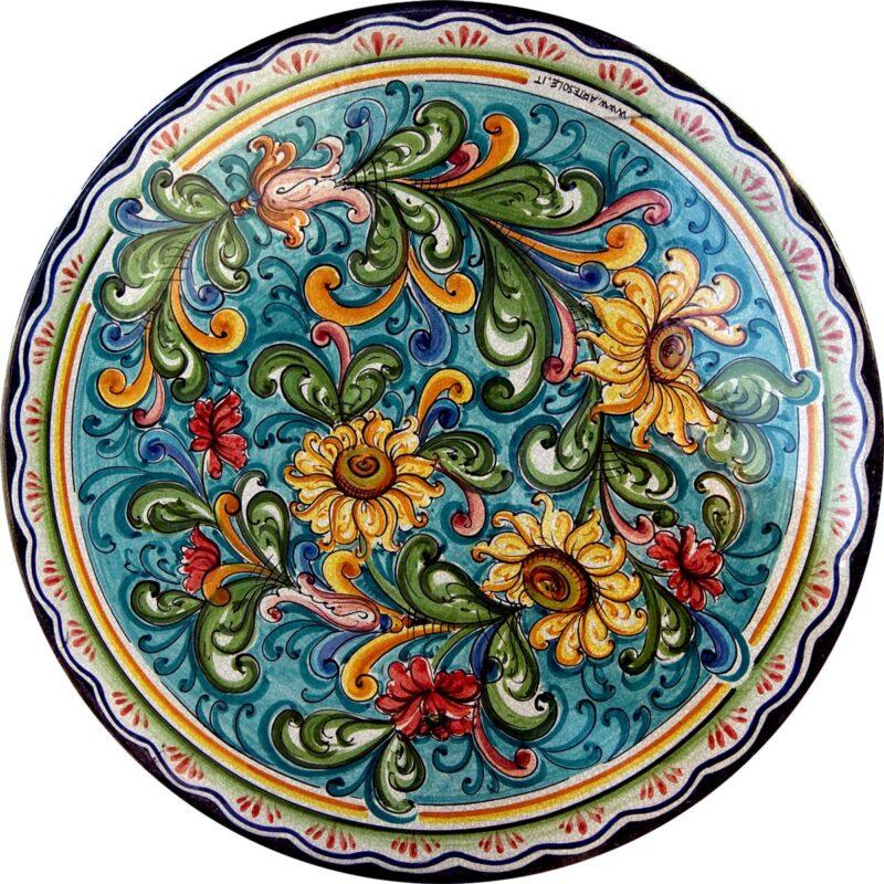 tavolo in pietra lavica con decoro cuor di girasole decorato e dipinto a mano