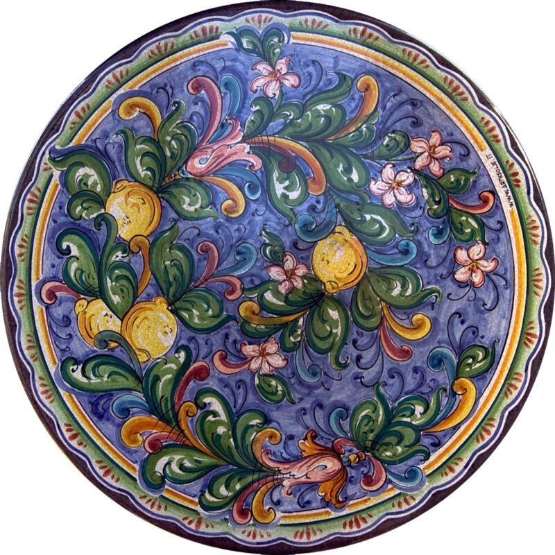 tavolo in pietra lavica con decoro cuor di limoni decorato e dipinto a mano