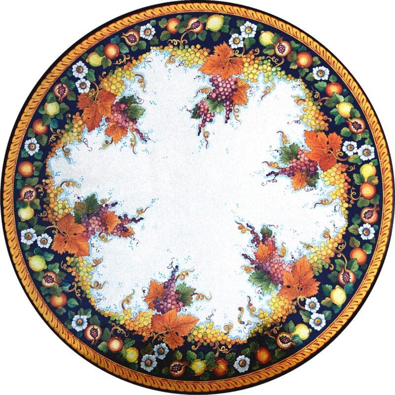 tavolo in pietra lavica decorato a mano per arredamenti esterni