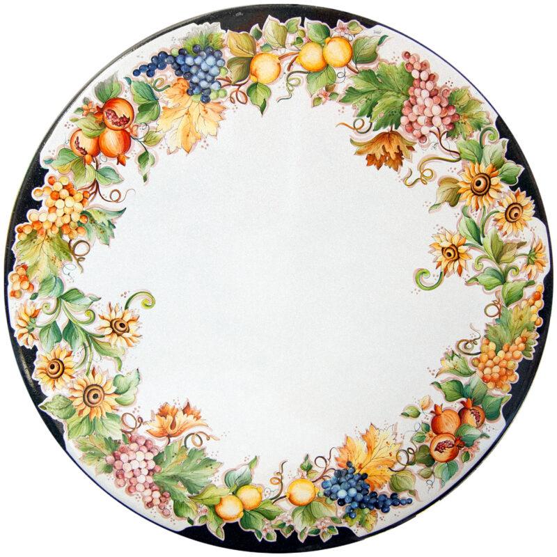 tavolo in pietra lavica ceramizzato a decorato a mano
