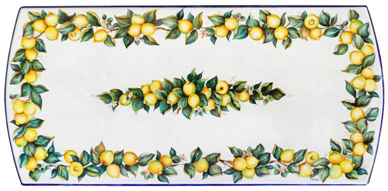 Tavolo in pietra lavica con decoro limoni dipinti a mano
