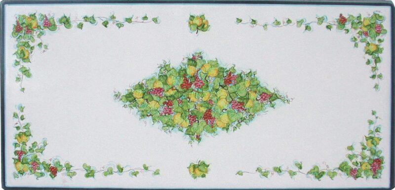Tavolo in pietra lavica con decoro uva e limoni dipinto a mano