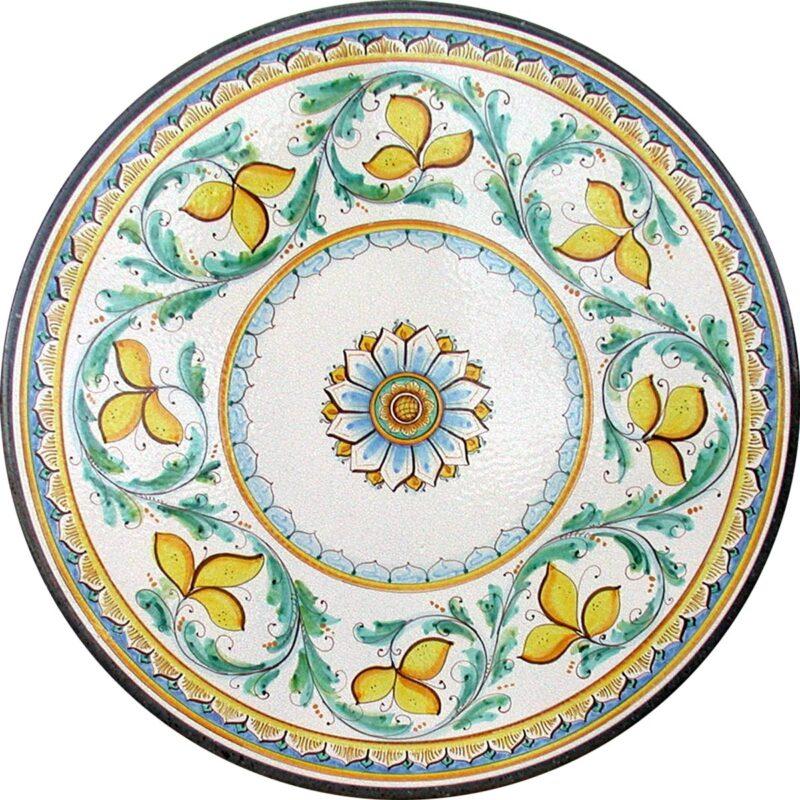 tavolo in pietra lavica con decoro diana dipinto a mano