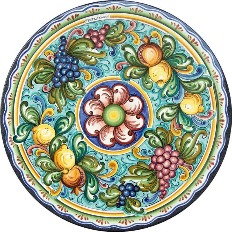 tavolo in pietra lavica con decoro fior di frutta decorato a mano