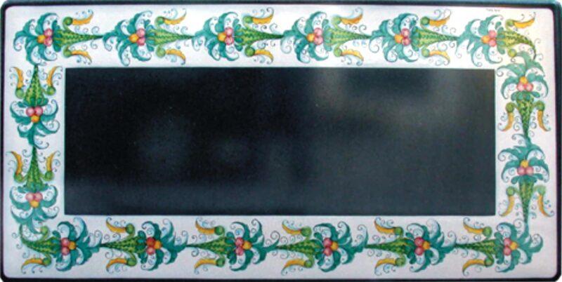 Tavolo in pietra lavica con decoro giullare, decorato a mano