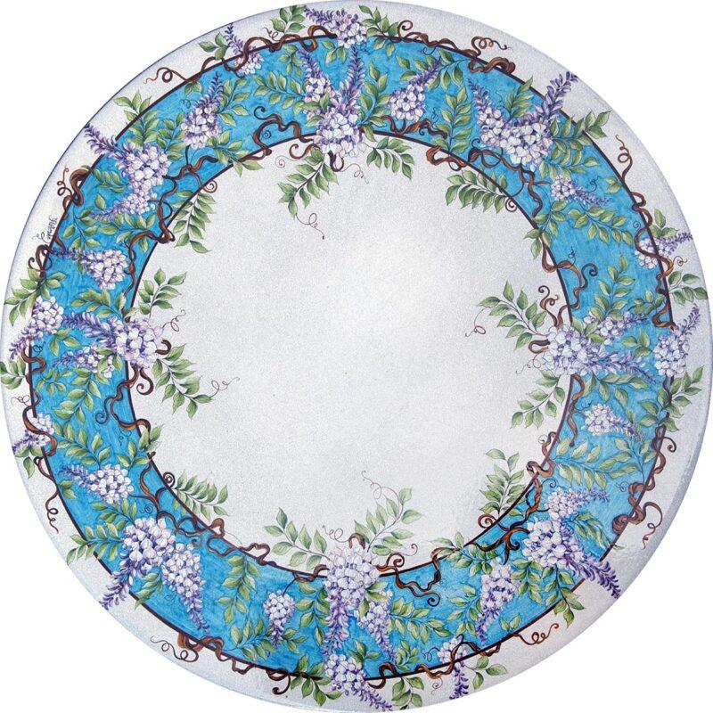 tavolo in pietra lavica rotodono con decoro glicine