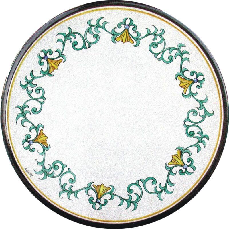 tavolo in pietra lavica rotondo dipinto a mano con decoro gracia