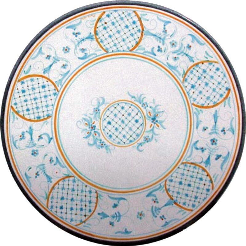 tavolo in pietra lavica dipinto a mano con decoro helenia