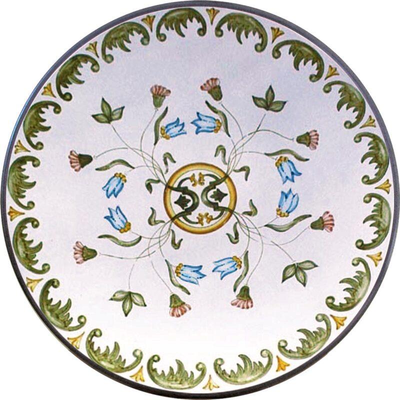tavolo in pietra lavica dipinto a mano con decoro intreccio di fiori